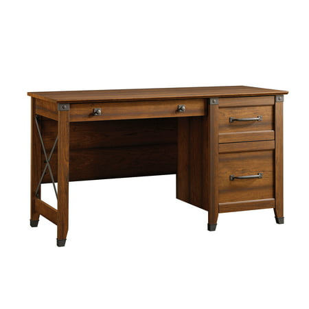 Sauder Carson Forge Desk with 3 Drawers, Washington Cherry