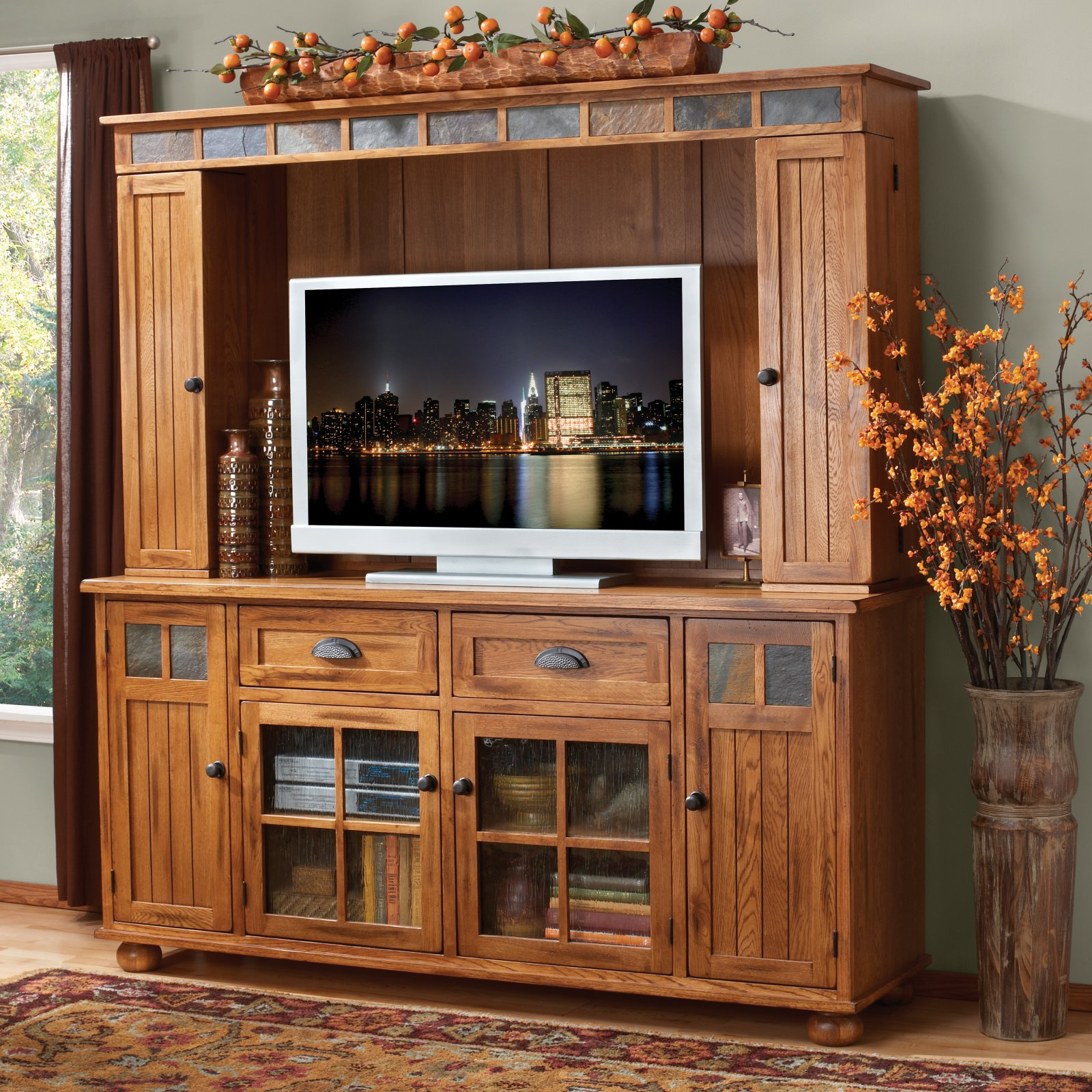 Sunny Designs Sedona 72 in. TV Console with Hutch