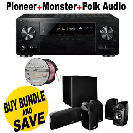 PIONEER AV receiver VSX-831 (B) + Polk Audio 5.1 TL1600 Speaker System + Monster - Platinum XP Clear Jacket MKIII 50' Compact Speaker Cable - Clear/Copper Bundle (Vsx Pioneer)