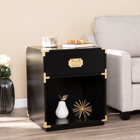 Magnificent Southern Enterprises Kamdan Tall Storage Side Table W Drawer Black Pdpeps Interior Chair Design Pdpepsorg