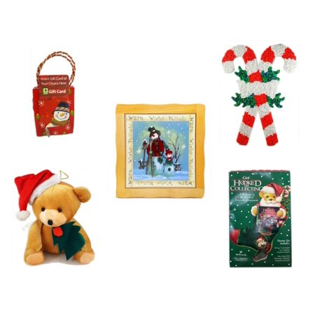 Christmas Fun Gift Bundle [5 Piece] - Musical Gift Card Holder Snowman - Vintage 1960's Kage Co. Melted Popcorn Candy Cane - Warm Winter Blessings Snowman Family Hot Plate Trivet - Santa Teddy Bear