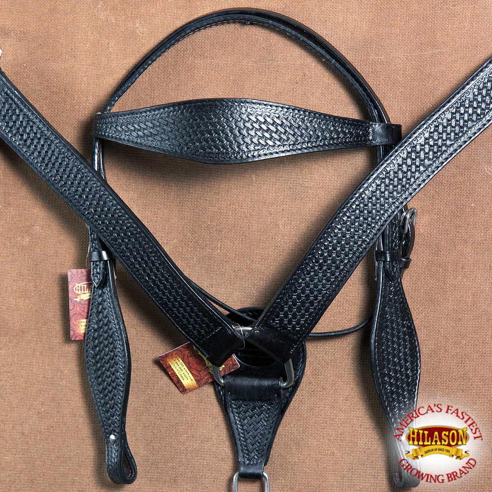 Hilason WESTERN BASKET WEAVE LEATHER HORSE BRIDLE HEADSTA...