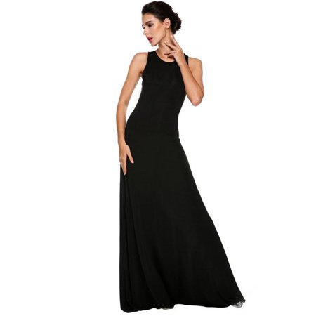 Sexy Women O-Neck Sleeveless Bodycon Back Hollow Out Maxi Party Dress OTST