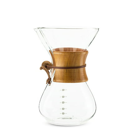 True Finesse Pour Over Glass Coffee Maker with Pine Wood Sleeve