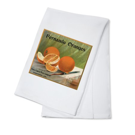 Fernando Oranges Brand - Fernando, California - Citrus Crate Label (100% Cotton Kitchen Towel) (California Orange Crate Label)