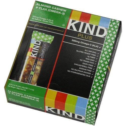 KIND Plus Bars, Almond Cashew with Flax   Omega-3, 1.4 oz, 12 Count