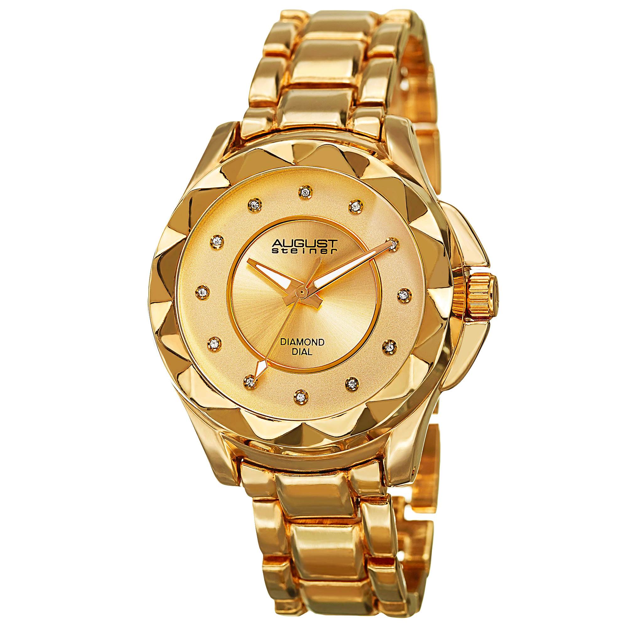 Women's August Steiner AS8164RG 12 Genuine Diamond Hour Markers Quartz Watch, Yellow Gold
