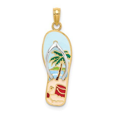 Gold Enamel Palm Tree - 14k Yellow Gold Enamel Palm Tree & Bucket Flip-Flop Charm Pendant