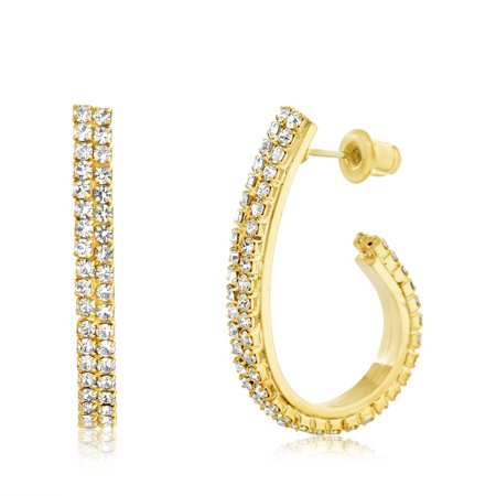 Lesa Michele Women's White Crystal J Shaped Oval 20X30MM Hoop Earrings in Yellow Gold Plated Brass