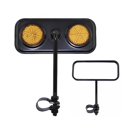 Lowrider Rectangular Bicycle Bike Mirror Black with Amber Reflector Bike Part, Bicycle Part, Bike Accessory, Bicycle -