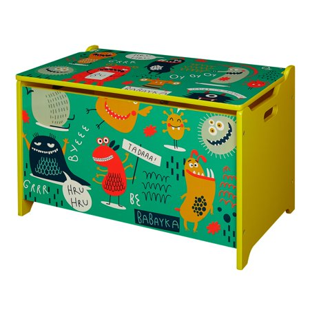 Senda Kid's Monsters Wooden Storage Toy Box with Lid - Wooden Treasure Chest Box
