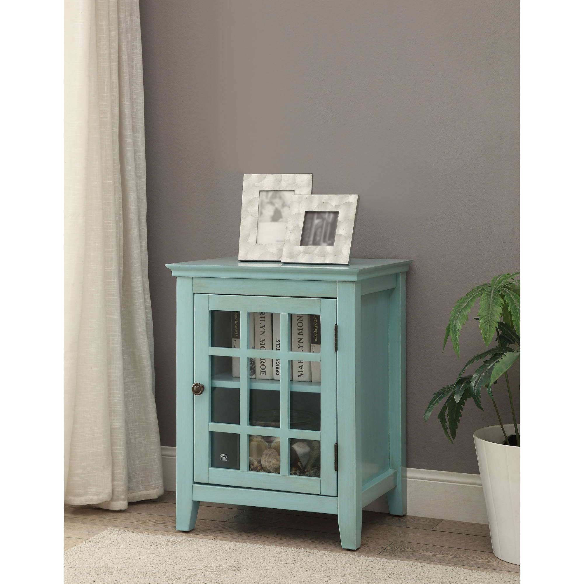 Linon Home Largo Antique Single Door Cabinet, Multiple Colors