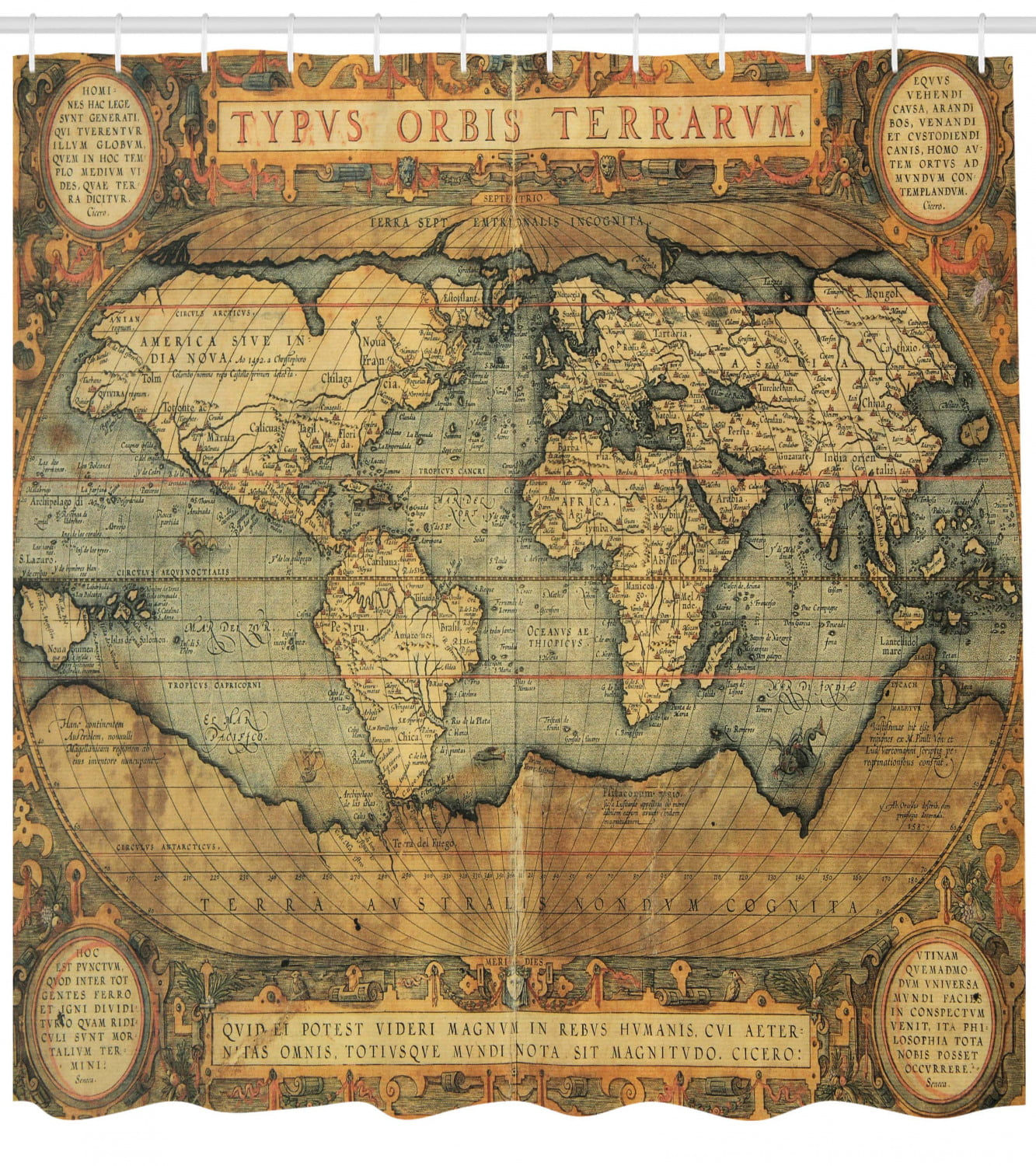 World Map Shower Curtain Ancient Old Chart Vintage
