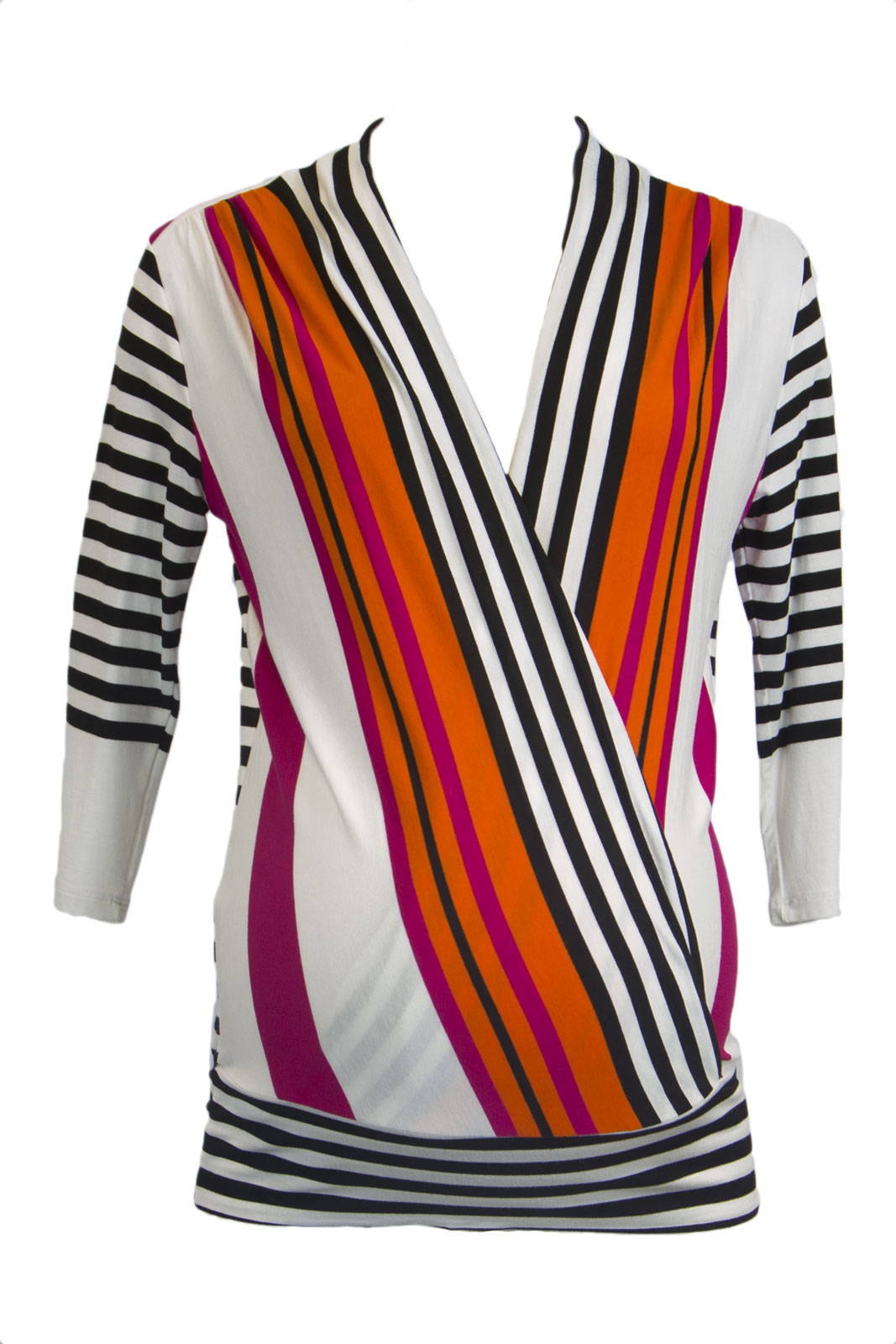 OLIAN Maternity Women's Stripe Elbow Sleeve Nursing Wrap Top X-Small Multi