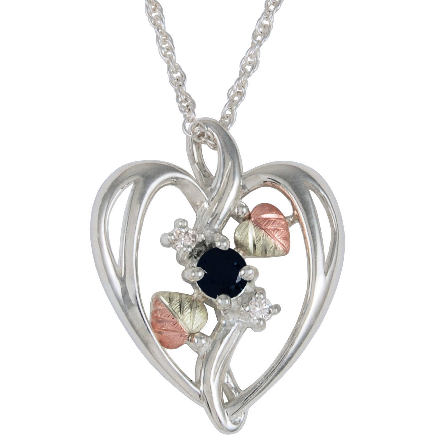 Black Hills Gold CZ and Onyx Sterling Silver Heart Pendant, 18""