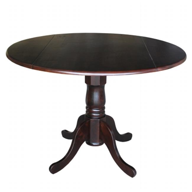 Intenational Concepts *T15-42DP 42 in. Round Dual Drop Leaf Ped Table  RICH MOCHA