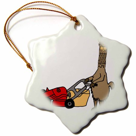 3dRose Funny Cute Llama Pushing Red Lawn Mower and Mowing Grass - Snowflake Ornament,
