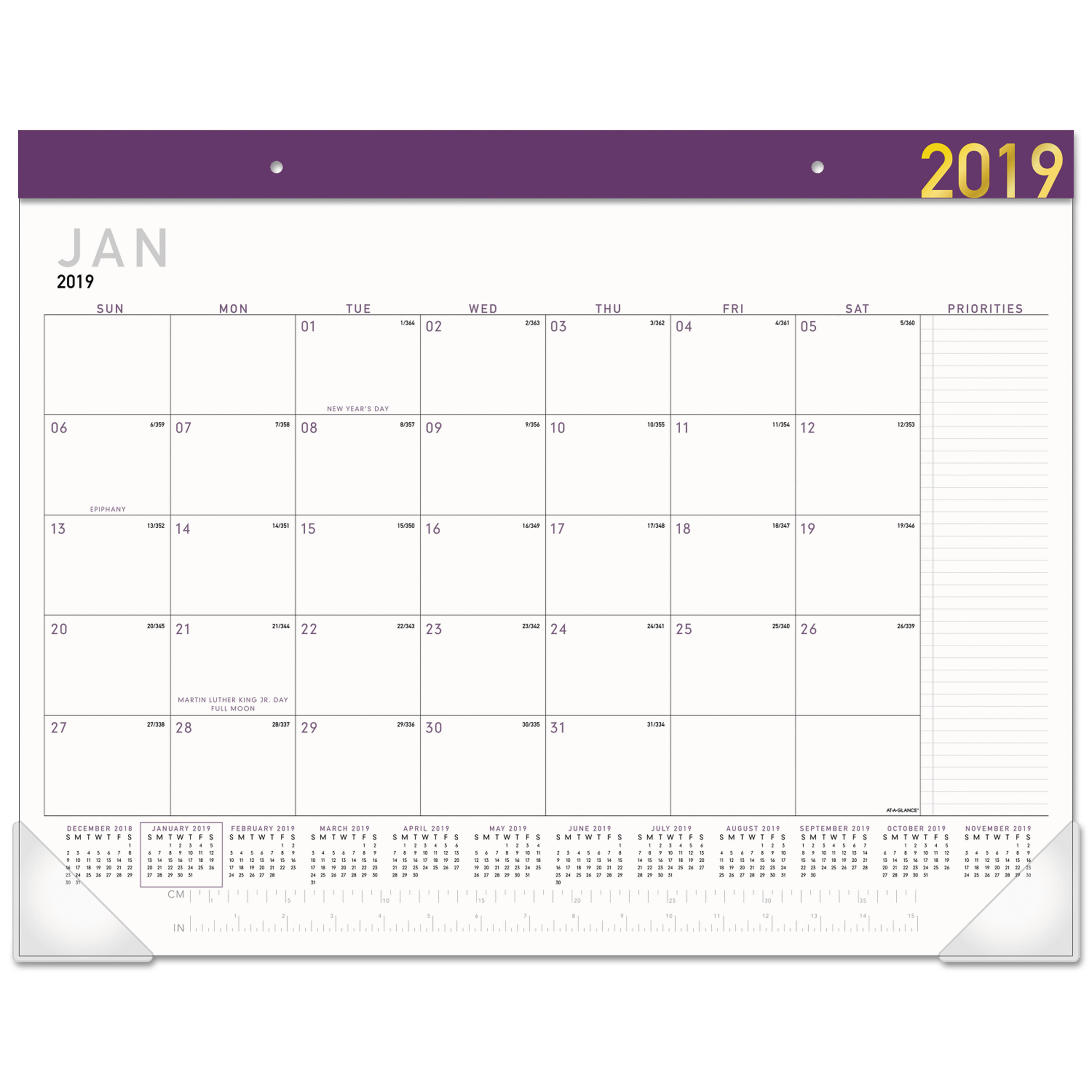 AT-A-GLANCE Contempo Desk Pad, 22 x 17, Contemporary, 2019 -AAGSK24XF59
