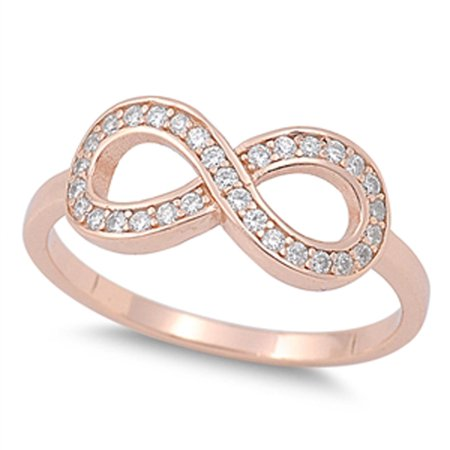 CHOOSE YOUR COLOR Rose Gold-Tone Infinity Clear CZ Unique Ring New .925 Sterling Silver