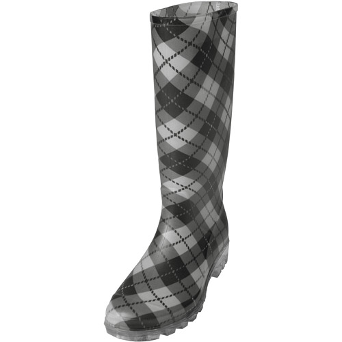 Excellent Bogs Sidney Plaid Women Rubber Black Rain Boot Boots