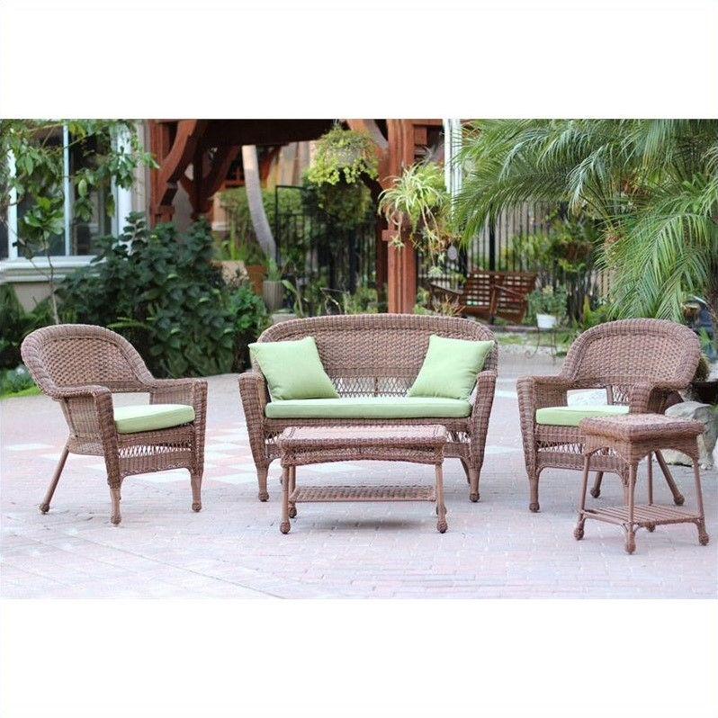 Jeco 5pc Wicker Conversation Set in Honey with Green Cushions