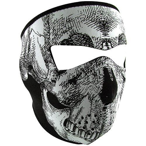 Zan Headgear Full Mask Glow-in-the-Dark Black White Skull Face by Zan Headgear