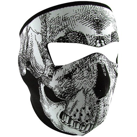 Zan Headgear Full Mask Glow-in-the-Dark Black/White Skull Face (Cycle Products Skull Face Mask)
