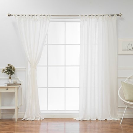 Best Home Fashion Lace Tie Top Sheer Linen Single Curtain