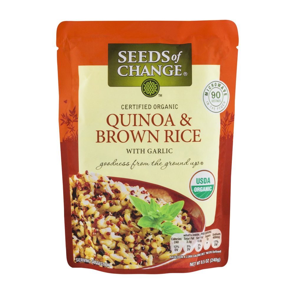Seeds Of Change Quiona & Brown Rice With Garlic, 8.5 OZ