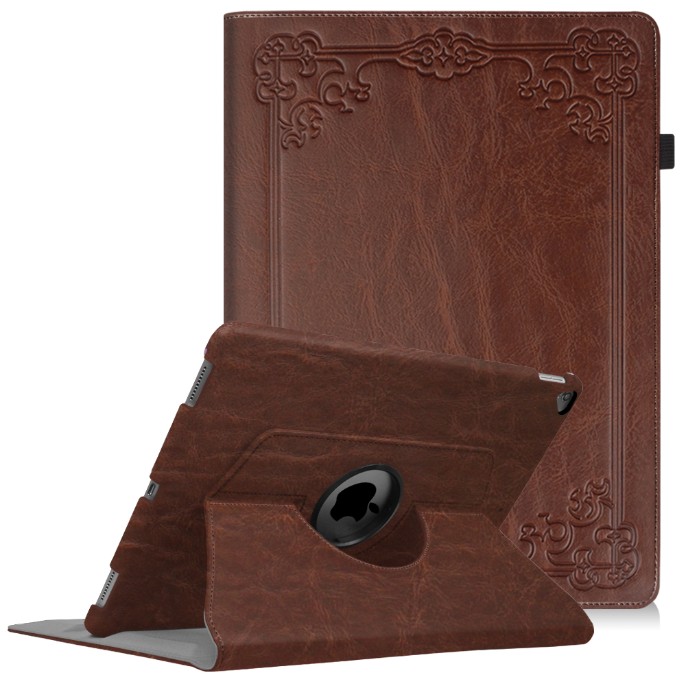 """Fintie iPad Pro 12.9"""" 2015/2017 Case - 360 Degree Rotating Stand Case Protective Cover Sleep / Wake, Brown"""