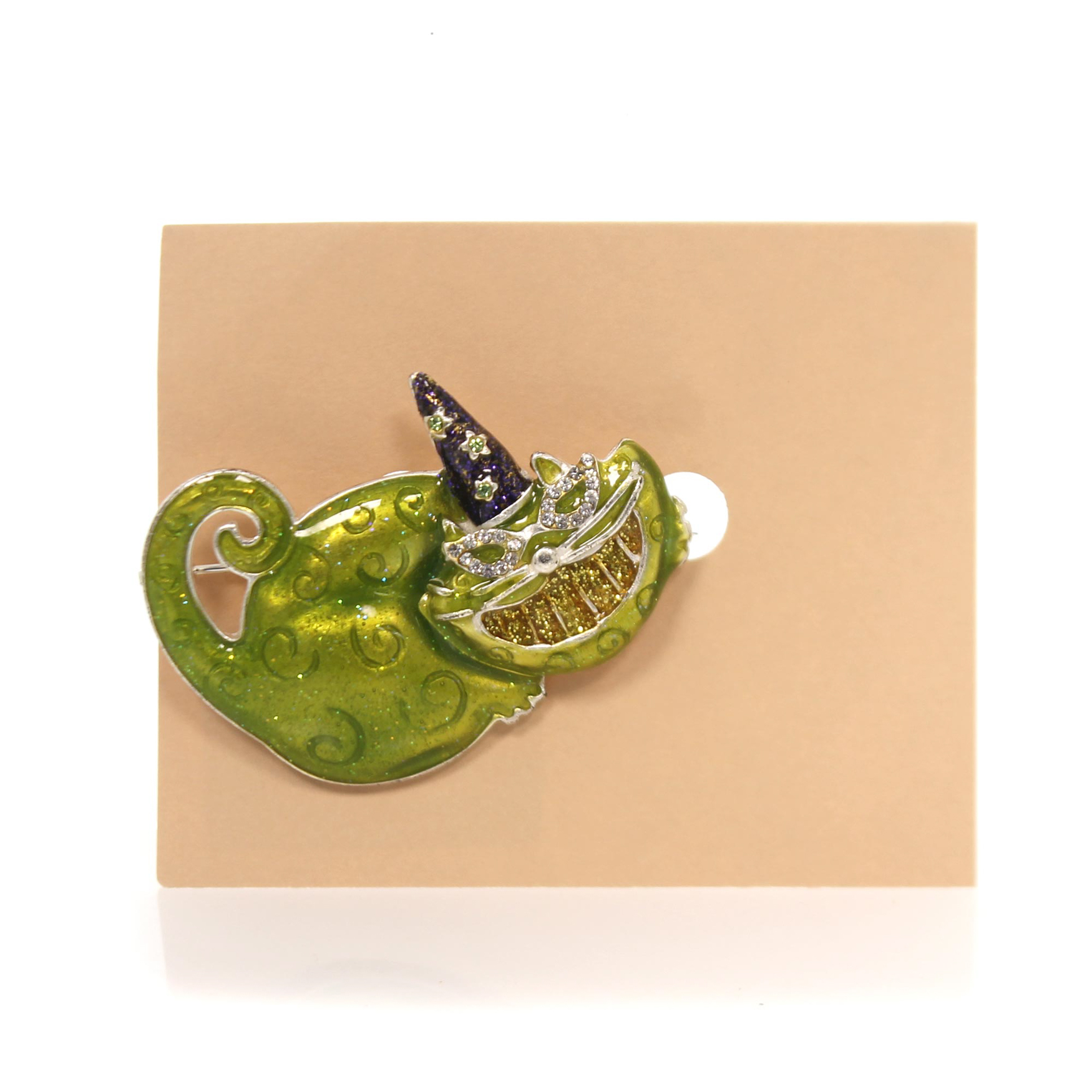 Jewelry GREEN CAT WITH WITCHES HAT PIN Metal Halloween Brooch Ta9017 by
