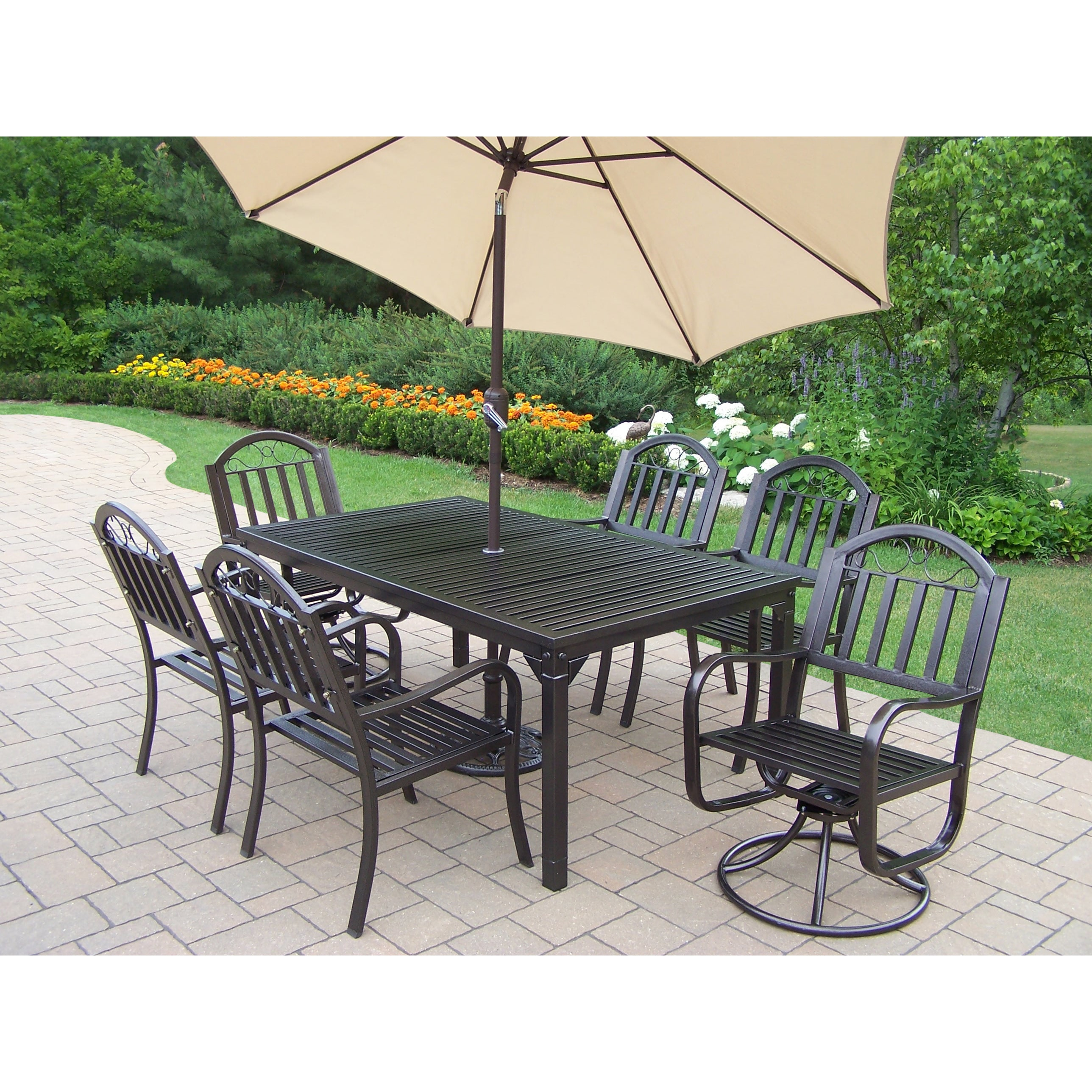 Oakland Living Corporation Hometown Iron 9-piece Dining Set with Beige Umbrella and Stand