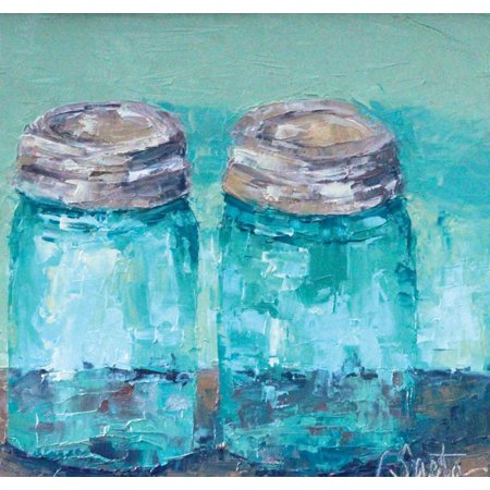 Two Blue Jars Stretched Canvas - Leslie Seata (24 x 24)