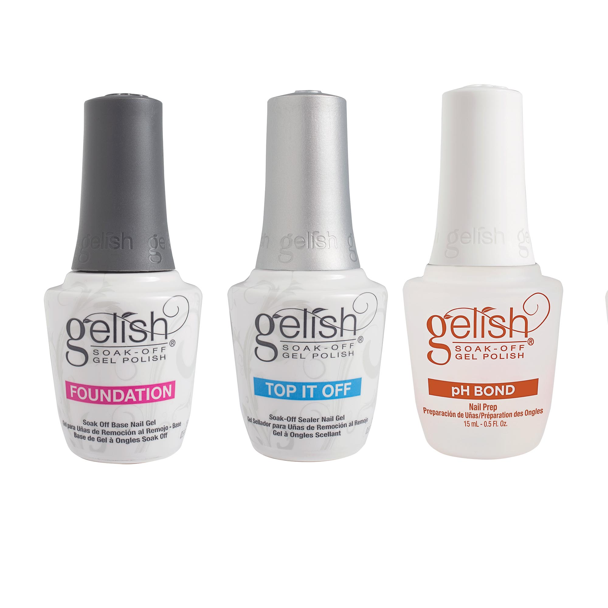 Gelish Terrific Trio Essentials Collection Soak Off Gel Nail Polish Kit, 15 mL