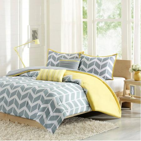 Gray/Yellow Darcy Comforter Set Chevron Twin/Twin XL 4pc