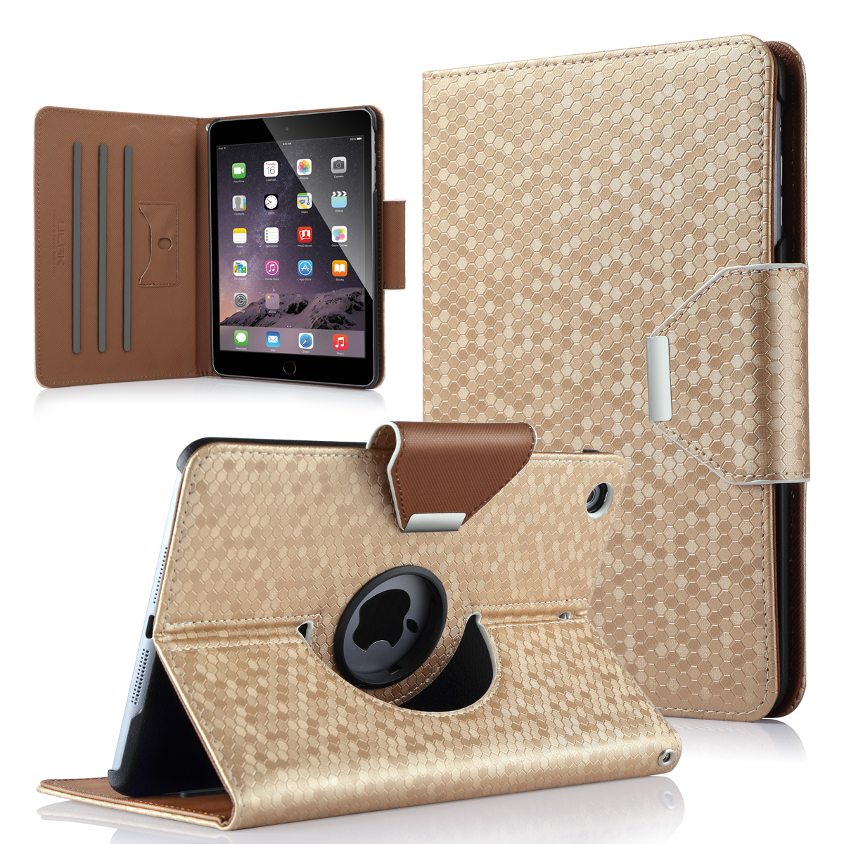 iPad mini 3 / iPad mini 2 / iPad mini Rotating Case - ULAK Multi-Angle Stand Smart Cover with Auto Sleep/Wake for Apple iPad mini 1/2/3 (Gold)
