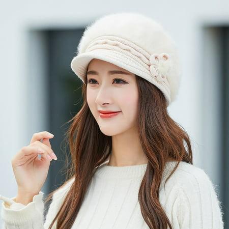 Women Winter Warm Floral Cap Beret Braided Baggy Knit Crochet Beanie Hat Ski Cap
