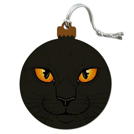 Black Cat Face Pet Kitty Wood Christmas Tree Holiday Ornament Kitty Cat Ornament