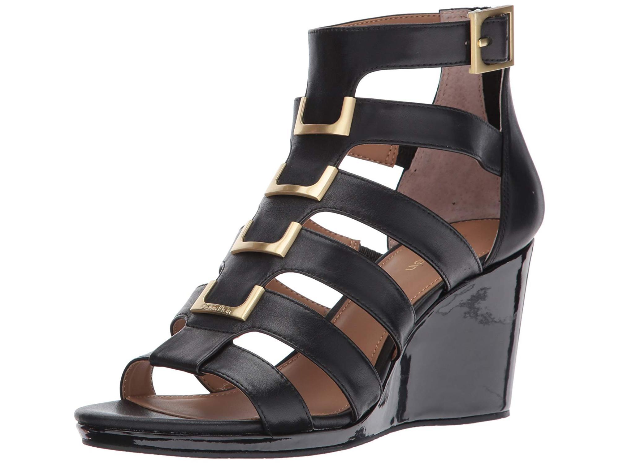 00d77a8bb482 Calvin Klein Womens Brilla Leather Open Toe Formal Strappy