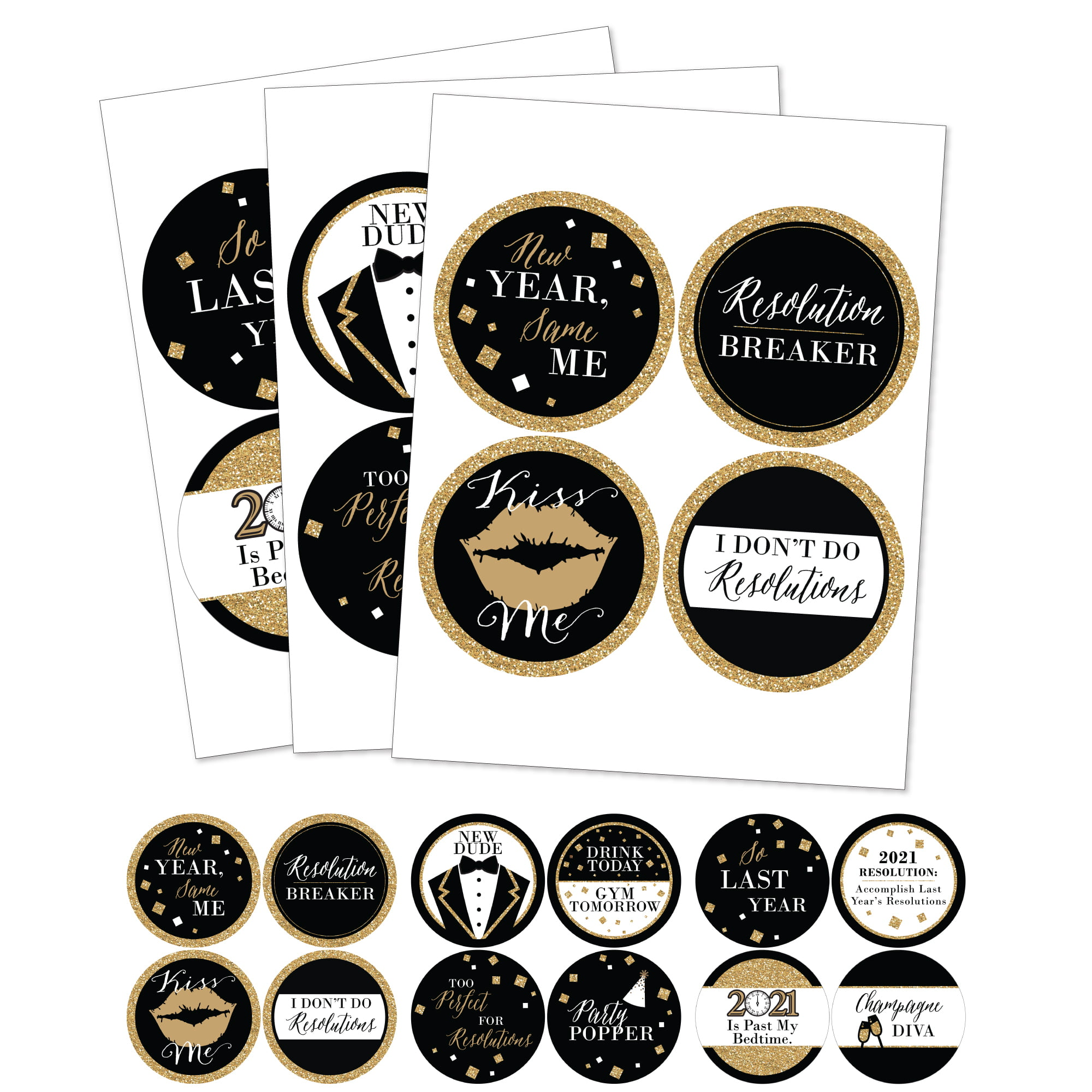 New Year's Eve - Gold - 2021 New Years Eve Party Funny Name Tags - Party Badges Sticker Set of ...
