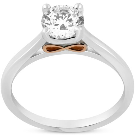 G/SI 1ct Round Diamond Solitaire 14k Rose & White Gold Engagement Ring - image 4 de 4