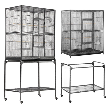 63'' H Large Rolling Metal Parrot Cage with Detachable Stand,Black](Canoe Stand)