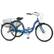 Schwinn Meridian Adult Tricycle, 26-inch wheels, rear storage basket, Blue