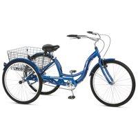 Schwinn Meridian Adult Tricycle, 26-inch wheels, rear storage basket, Blue