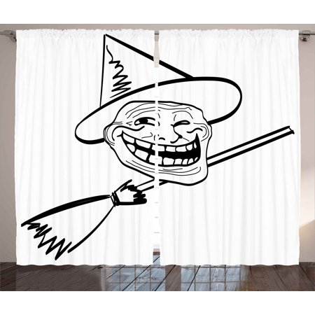 Humor Decor Curtains 2 Panels Set, Halloween Spirit Themed Witch Guy Meme Lol Joy Spooky Avatar Artful Image, Window Drapes for Living Room Bedroom, 108W X 84L Inches, Black White, by Ambesonne (Halloween Meme Generator)