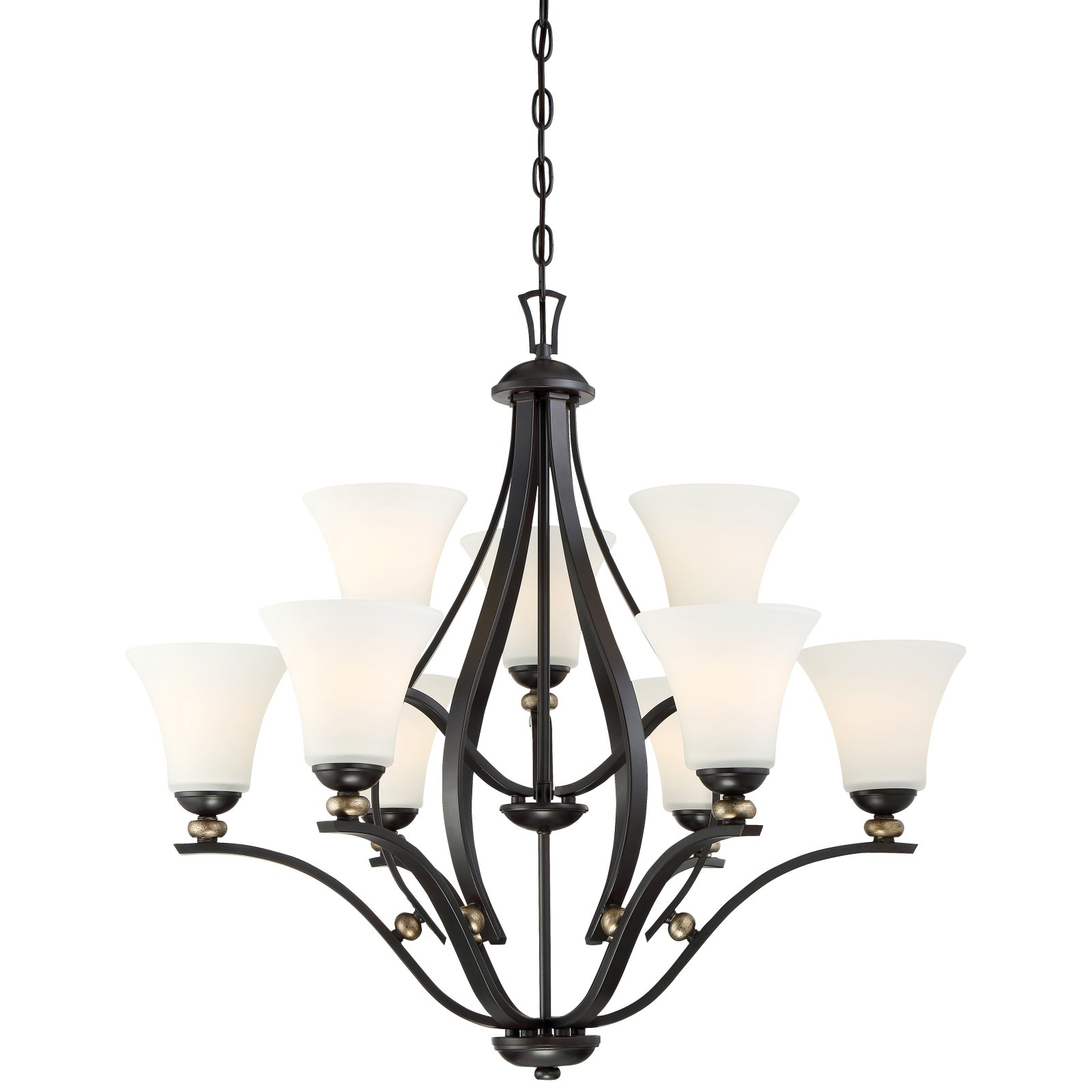 Minka Lavery Shadowglen 9 Light Chandelier - Lathan Bronze with Gold Highlights