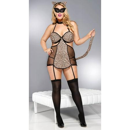 Plus Size Leopard Mistress Lingerie Costume, Plus Size Leopard Chemise Set