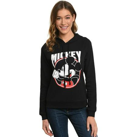 Juniors Mickey Mouse 28 Hoodie Sweatshirt - Black Front & Back - Mickey Mouse Hoodie