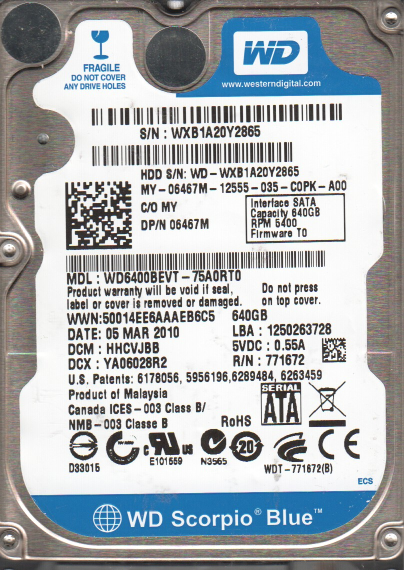 WD6400BEVT DRIVERS WINDOWS 7
