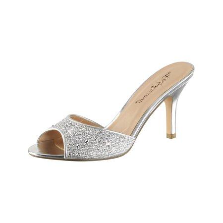 Womens Silver Dress Sandals Rhinestones Slides Shoes Glitter 3 1/4 Inch Heels ()